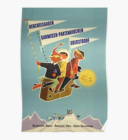 Austria, Germany Bavarian Alps Vintage Travel Poster Poster