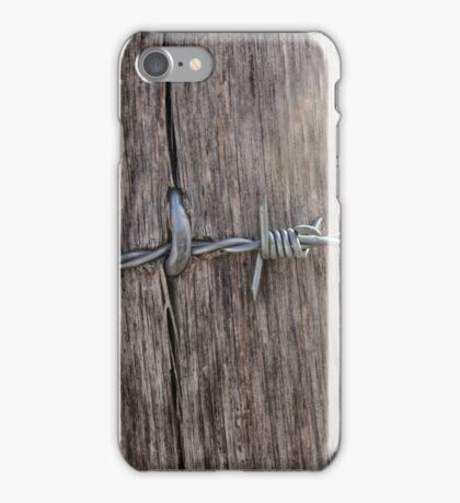 Barbed Wire Attached to a Fence iPhone Case/Skin