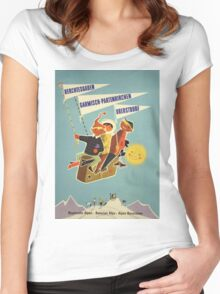 Austria, Germany Bavarian Alps Vintage Travel Poster Women's Fitted Scoop T-Shirt