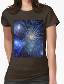 Bright Blue and White Fireworks Womens Fitted T-Shirt