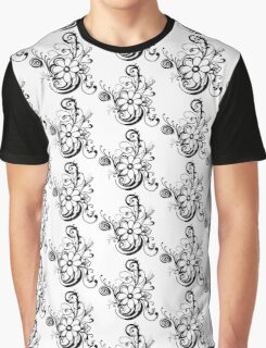 b+w flower Graphic T-Shirt