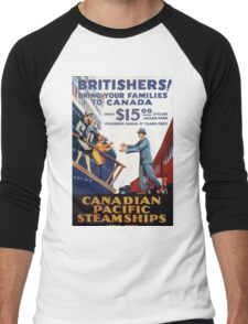 Britishers! Bring your family to Canada! Vintage Travel Poster Men's Baseball ¾ T-Shirt
