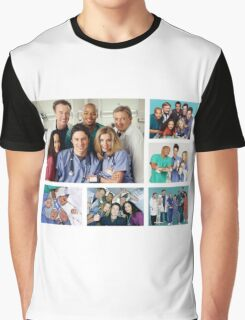 Scrubs Cast Photoshoot Collage Graphic T-Shirt
