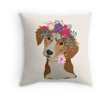 Drawing pen dog face with beautiful flowers  Throw Pillow