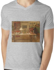 Vintage famous art - Carl Larsson - Getting Ready For A Game Mens V-Neck T-Shirt