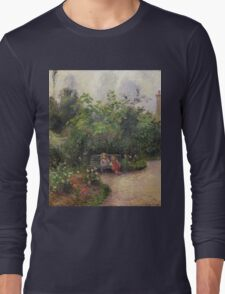 Vintage famous art - Camille Pissarro  - A Corner Of The Garden At The Hermitage, Pontoise Long Sleeve T-Shirt