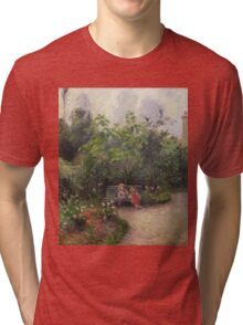 Vintage famous art - Camille Pissarro  - A Corner Of The Garden At The Hermitage, Pontoise Tri-blend T-Shirt