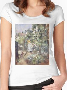 Vintage famous art - Berthe Morisot  - A Child In The Rosebeds Women's Fitted Scoop T-Shirt