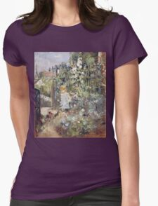 Vintage famous art - Berthe Morisot  - A Child In The Rosebeds Womens Fitted T-Shirt
