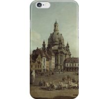 Vintage famous art - Bernardo Bellotto  - View Of Dresden With The Frauenkirche At Left 1747 iPhone Case/Skin