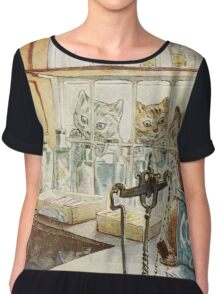 Vintage famous art - Beatrix Potter - Tale Of Ginger And Pickles, 1909 Chiffon Top