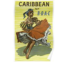 Caribbean fly B.O.A.C Vintage Travel Poster Poster