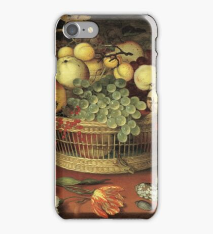 Vintage famous art - Balthasar Van Der Ast  - Still Life With Basket Of Fruit iPhone Case/Skin