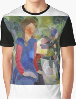Vintage famous art - August Macke - Woman With Fishbowl  Graphic T-Shirt