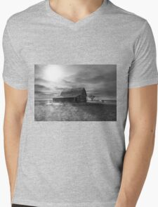 Peace on the Prairies - BW Mens V-Neck T-Shirt