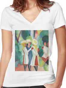 Vintage famous art - August Macke - Three Girls In Yellow Straw Hats I Women's Fitted V-Neck T-Shirt
