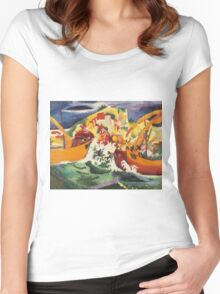 Vintage famous art - August Macke - Native Sea Fight Women's Fitted Scoop T-Shirt
