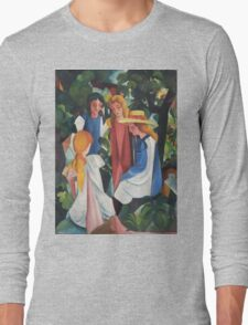 Vintage famous art - August Macke - Four Girls Long Sleeve T-Shirt