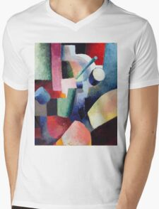 Vintage famous art - August Macke - Colored Composition Of Forms Mens V-Neck T-Shirt