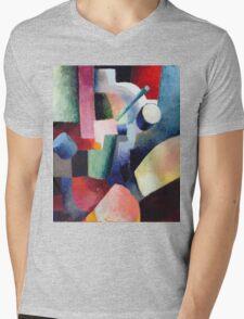 Vintage famous art - August Macke - Colored Composition Of Forms Mens V-Neck T-Shirt