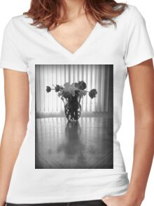 Tulips & Daffodils in Black & White Women's Fitted V-Neck T-Shirt