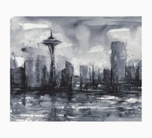 Seattle Skyline Painting Watercolor Baby Tee
