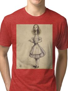 Vintage famous art - Alice In Wonderland - Curiouser And Curiouser Tri-blend T-Shirt