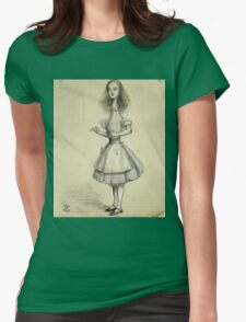 Vintage famous art - Alice In Wonderland - Curiouser And Curiouser Womens Fitted T-Shirt