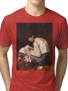 Vintage famous art - Alexej Alexejewitsch Charlamoff - A Girl Reading Tri-blend T-Shirt
