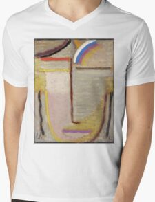 Vintage famous art - Alexei Jawlensky  - Abstract Head Composition No 2  Winter  Mens V-Neck T-Shirt