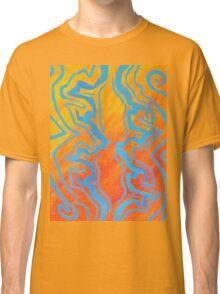 Abstract Acrylic Pattern - Orange & Blue Classic T-Shirt
