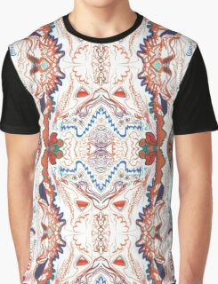Abstract Marker Pattern - White & Orange Graphic T-Shirt