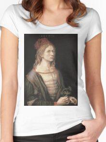 Vintage famous art - Albrecht Durer - Autoportrait 1493 Women's Fitted Scoop T-Shirt
