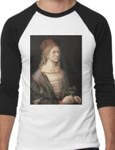 Albrecht Durer - Autoportrait 1493. Man portrait:  Durer,  man, self-portrait, costume, curled, hair, hairstyle, hat , dandy, fashion, medieval costume, painter Men's Baseball ¾ T-Shirt