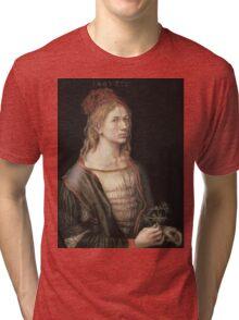 Albrecht Durer - Autoportrait 1493. Man portrait:  Durer,  man, self-portrait, costume, curled, hair, hairstyle, hat , dandy, fashion, medieval costume, painter Tri-blend T-Shirt
