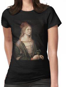 Albrecht Durer - Autoportrait 1493. Man portrait:  Durer,  man, self-portrait, costume, curled, hair, hairstyle, hat , dandy, fashion, medieval costume, painter Womens Fitted T-Shirt
