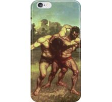 Vintage famous art - Gustave Courbet - The Wrestlers iPhone Case/Skin