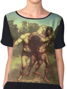 Vintage famous art - Gustave Courbet - The Wrestlers Chiffon Top
