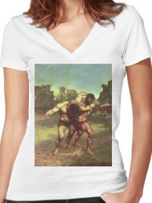 Vintage famous art - Gustave Courbet - The Wrestlers Women's Fitted V-Neck T-Shirt