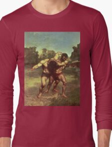 Vintage famous art - Gustave Courbet - The Wrestlers Long Sleeve T-Shirt
