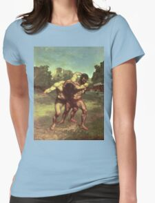 Vintage famous art - Gustave Courbet - The Wrestlers Womens Fitted T-Shirt
