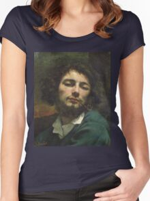Vintage famous art - Gustave Courbet - Self Portrait Or, The Man With A Pipe Women's Fitted Scoop T-Shirt