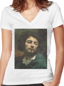 Vintage famous art - Gustave Courbet - Self Portrait Or, The Man With A Pipe Women's Fitted V-Neck T-Shirt
