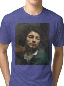 Vintage famous art - Gustave Courbet - Self Portrait Or, The Man With A Pipe Tri-blend T-Shirt