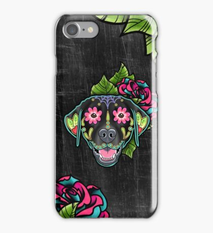 Labrador Retriever in Black- Day of the Dead Lab Sugar Skull Dog iPhone Case/Skin