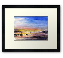 Sunset Watercolor Painting Framed Print