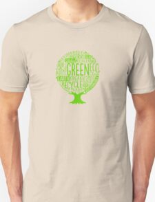 Earth Day Tree Word Fill Organic Compost Sustainable Recycling  T-Shirt