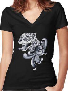 Ornamental Pit Bull Women's Fitted V-Neck T-Shirt