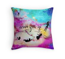 Never Grow Up Peter Pan Nebula Throw Pillow