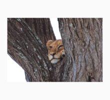 Young Masai Lion (Panthera leo massaica) on a Tree Kids Tee